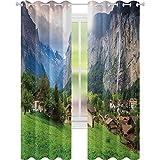 Rideaux occultants pour chambre à coucher, champs touristiques de Lauterbrunnen Bernois, oberland, Suisse, Europe, 52 x 84 cm (l x L), rideau occultant pour salon, vert gris