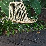 Casa Moro | Valencia Chaise en rotin naturel tressé à la main | Chaise vintage en osier | Chaise rétro pour cuisine, jardin, terrasse, salle à manger | IDSN41