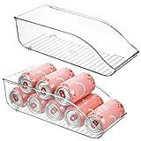 mDesign boite alimentaire pour réfrigérateur et armoire de cuisine (lot de 2) – bac alimentaire parfait pour neuf canettes – rangement frigo pratique – transparent