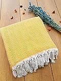 Damla Couvre-lit idéal pour lit et canapé, 100 % coton, franges faites à la main, 200 x 240 cm (jaune)