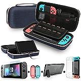 Bestico Accessoire pour Nintendo Switch, Étui de Transport avec Support pour Nintendo Switch, Cristal Transparent Housse de Protection, Protecteurs d'écran en Verre Trempé