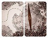 WENKO Plaque de protection en verre universel Boussole - Set de 2, plaques de protection pour tous les types de cuisinière, Verre trempé, 30 x 52 cm, Multicolore