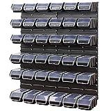Lot pour rangement garage, plaques avec 36 Ergobox bacs a bec en noir