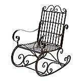 Cocoarm Chaise berçante d'extérieur,Chaise à Bascule en Fer Meuble de Jardin Fauteuil à Bascule Fauteuil de Relaxation Chaise pour Balcon Jardin 60.5 x 90 x 104.5cm