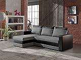 Bestmobilier - Portland - Canapé d'angle réversible Convertible Noir/Gris- 225x145x85cm