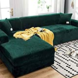 Velvet Sofa Cover, Skid Resistance Stretch Sofa Cover Slipcover Soft Thick Sofa Protector for L-Shape Sectional Couch Sofa Slipcover Furniture Cover Protector