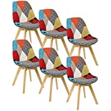 WOLTU® Chaises de Salle à Manger Lot de 6 Chaise de Cuisine en Lin,BH29mf-6 Multicolore