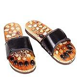Des chaussures de pavés en bois, améliorent le métabolisme, favorisent la circulation sanguine, adaptée aux hommes et aux femmes en été (Couleur : Noir)
