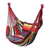 Mokia Hamac suspendu en toile avec coussin – Portable – Idéal pour jardin, plage, camping, terrasse, décoration – Taille unique – Couleur arc-en-ciel