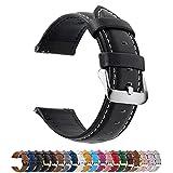 Fullmosa 14mm 16mm 18mm 19mm 20mm 22mm 24mm Bracelet Montre en Cuir Véritable, 12 Couleurs Axus Montre Bracelet à Dégagement Rapide,20mm Noir