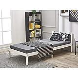 Lit Simple Adult en Bois 1 Place Design Comfort, 198 x 96 x 65 cm, Blanc