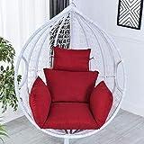 HYCy Coussin de Chaise de hamac d'oeuf Coussin de siège de balançoire épais Dossier de nid épais avec Oreiller pour Jardin extérieur extérieur de Cour intérieure (sans Chaise) (Couleur: Rouge)
