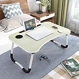 Astory Table de lit avec pieds pliables pour ordinateur portable et emplacement pour tasse Érable blanc