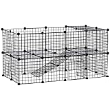 Pawhut Cage Parc enclos pour Animaux domestiques L 146 x l 73 x H 73 cm modulable 2 Niveaux 36 Panneaux Bords arrondis Fil métallique Noir