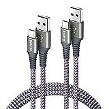Bobeite Lot de 2 longs câbles USB C 3 m USB C vers USB A en nylon tressé pour Samsung S20 Fe S10 S9 S8 S21 Plus, manette PS5, Galaxy Note 20 Ultra 10 9 8