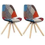 WOLTU® 2 X Chaise de Cuisine pour Salle à Manger Design Moderne avec Assise rembourrée en Lin,Multicolore BH52mf-2