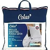 COLAS NORMAND - Oreiller QualityGel Percale 100% Coton - Ferme - 60x60cm - Soutien cervicale - Sensation mémoire de forme - Qualité hôtel - Doux - Fabrication française - Blanc