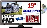 TV19DVDB - TÉLÉVISEUR Camping Car Camion Fourgon LED 18,5' 47cm TNTUHD ULTRAHD 220V 24V 12V ANTARION
