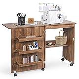 GIANTEX Table de couture pliable pour machine à coudre avec roulettes, table multifonction pour salon, bureau, chambre à coucher, marron