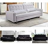 Canapé lit avec compartiment coffre, revêtement simili cuir blanc, noir ou marron ou ou micro fibre noir
