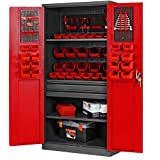 Armoire à outils TC02AM Meuble d'atelier avec tiroirs Portes battantes 3 étagères Peinture en poudre 185 cm x 92 cm x 50 cm (anthracite/rouge)