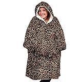 YUEWEIWEI Flanelle polaire hoodie couverture sweat-shirt portable couverture super douce chaude chaude chaude sweat sweat sweat à capuche avant la taille unique pour tous, Laopard Lazy Couverture