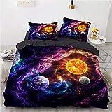 Parure de lit en microfibre avec taies d'oreiller Motif univers, étoiles galaxie Taille simple, double, king size 200 x 200 cm