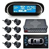 Sunwan N8P4L Capteur de stationnement de voiture Dual-Core, vue avant et arrière avec écran LCD, système de radar de recul, 4 voix, commutable avec 8 capteurs noirs