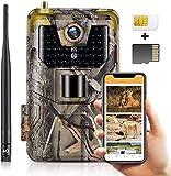 SuntekCam APP caméra de Chasse Carte SIM vidéo en Direct 4G 30MP 4K Video étanche IP66 Live Video Trail Camera, Vision Nocturne Invisible Appareils Photo de Chasse carte SIM incluse, carte SD 16 Go