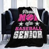 Hesmeno Proud Mom of A Baseball Senior 2021 College High School Couverture douce pour toutes les saisons, canapé, lit, canapé Ultra luxueuse, chaude et confortable