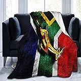AEMAPE Drapeau de l'afrique du sud emblème Africain Springbok Couverture Polaire Jeter Couverture Doux Confortable lit Couverture Chaude 127X102 CM