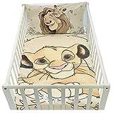 Housse de couette bébé 100x135cm et taie d'oreiller 40x60cm | Parure de lit le roi lion pour lit 60x120 ou 70x140cm | linge de lit Disney pour tout-petits