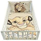 Housse de couette et taie d'oreiller pour lit bébé   Parure de lit le roi lion   linge de lit Disney