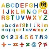 ZITFRI 106 Pcs Lettres Chiffres Magnetique Enfant - Lettres Aimantées Magnet Alphabet Majuscules et Minuscules Jouets Educatifs Jeu Apprentissage Lettres Magnetique Enfant pour Apprendre Lettre