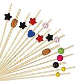 HONGXIN-SHOP Cocktail Bâtons Bambou Pics à Cocktail Fourchette pour Fête Grignote Tapas Sandwich Canapés Apéritif Brochette de Fruits 100 Pièces