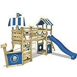 WICKEY Aire de jeux Portique bois StormFlyer avec balançoire et toboggan bleu, Cabane enfant exterieur avec bac à sable, échelle d'escalade & accessoires de jeux