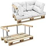 [en.casa] Canapé de palettes - 2-siège avec Coussins - (Blanc) kit complète INCL. accoudoir et Dossier