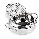 Pot de friteuse Tempura de style Janpanese, friteuse en acier inoxydable avec thermomètre à friture et couvercles pour la friture(L)