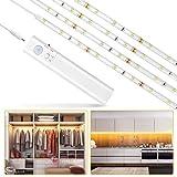 Lampe de Placard,LUXJET® 30LED 1M Veilleuse Bande Lumineuse Ruban,Lampe de capteur de mouvement pour placard/armoire/placard escalier/couloir/armoire,Alimentée par Batterie (100cm)