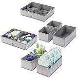 mDesign boîte de rangement pour chambre d'enfant tissu en lot de 2 – bac de rangement pour accessoires de bébé avec motif à chevron – aussi comme organiseur de tiroir, armoire, table à langer – gris