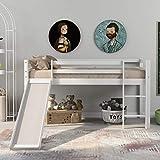 jeerbly Cadre de lit pour enfant avec toboggan et échelle, lit superposé pour enfant avec échelle réglable et toboggan (blanc, 190 x 90 cm)