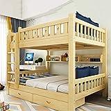 WSN Lit superposé en Bois Massif, Canapé-lit Simple Moderne avec tiroir de Rangement sous Le lit, Design Fonctionnel d'escalier, pour 2 Enfants,0.9mx2m