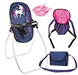 Bayer Design 63654AB Vario Set 9 en 1 avec une poche, un porte-outil, une assiette avec couvert, une chaise haute, accessoires pour poupée, bleu rose licorne