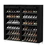 UDEAR Armoire/Meuble à Chaussures avec Housse en Toile 7 Couches étagère Chaussures avec Zip Noir