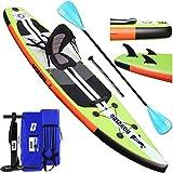 Stand up paddle Gonflable SUP Board Stand Up Paddle Board, siège kayak,330 x 76 x 15 cm, jusqu'à 130 kg, pad intégré, 3 ailes, double pagaie réglable, accessoires complets, vert