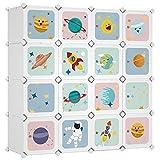 SONGMICS Armoire modulable, Placard de Rangement Portable, Organisateur vêtements Enfant, avec 16 Cubes, 4 Rails Suspendus, 123 x 41 x 123 cm, Blanc LPC905W01