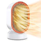 Chauffage en céramique 600W, mini radiateur électrique oscillant, radiateur personnel avec deux modes de vent et double protection , idéal pour la chambre à coucher, le bureau à domicile
