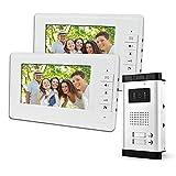 LIBO 7 Pouces Système de téléphone de Porte Sonnette vidéo Filaire 2 moniteurs avec 1 caméra Vision Nocturne IR 800 x 480, Control 2 Maison pour Multi Appartement/Familles
