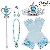 Vicloon 8pcs Princesse Dress Up Accessoires Filles Diadème Varita Magie Collier Boucles d'oreilles Anneau Gants pour Cosplay Noël Carnaval Fête d'anniversaire (Bleu)
