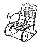 Fauteuil à bascule en fer avec accoudoir incurvé pour jardin inclinable 1 place Chaise longue romantique Style antique Meuble de jardin pour adultes en extérieur Patio